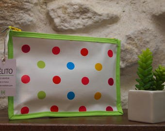 Lime and multicolored polka dot oilcloth pouch