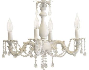 Shabby chic chandelier etsy shabby chic cottage style mini chandelier anna mozeypictures Images