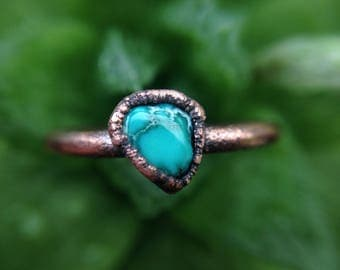 Turquoise | Turquoise Ring | Dainty Turquoise Ring | Copper Ring | Raw Turquoise Ring | Copper Jewelry | Size 5 3/4 | Ready-To-Ship