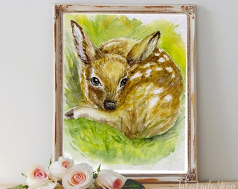 Baby deer watercolor print/Baby deer nursery decor/Deer nursery art/Deer watercolor painting print/Nursery print/Woodland nursery decor