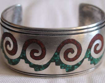Native American Navajo Sterling Silver Turquoise Coral Bracelet William Singer