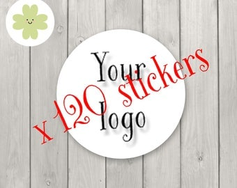 custom stickers, personalised labels, personalised stickers, custom labels, business logo stickers (120 pieces)