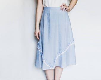 Blue Peasant Skirt, Pastel Blue Skirt, Vintage 70s Skirt, Blue Vintage Skirt, Midi Skirt, Ruffle Skirt, High Waist Skirt, Checkered Skirt