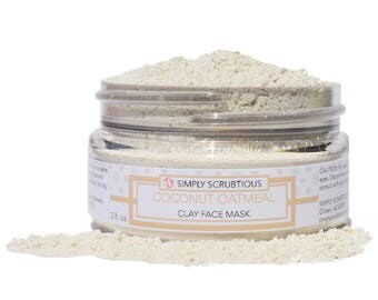 COCONUT OATMEAL Dry Clay Face Mask-Dry Facial Mask-Coconut Face Mask-Oatmeal Face Mask-Clay Face Mask- 2 oz.