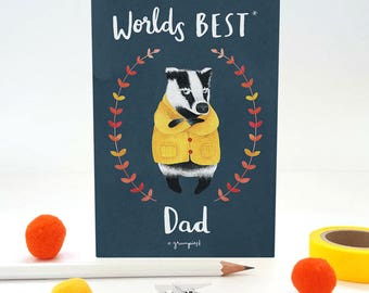 Worlds Best Dad Father's Day Badger Greetings Card