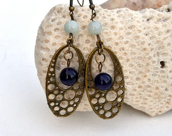 ethnic earrings Amethyst HQ amazonite - high