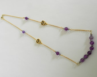 Purple Agate Beaded Necklace A02689