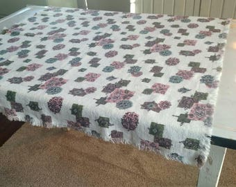 Vintage Fringed Cotton Tablecloth 1950's 1960's Abstract Lightweight 31 X 33 Square