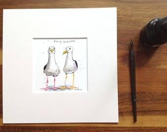 "Fancy Footwear - Original pen & ink drawing, watercolour painting - 8"" x 8"" gift watercolor, Seagulls, herring gull, cartoon illustration"
