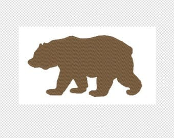 Solid Grizzly Bear Embroidery Design File - multiple formats - one color design -6 sizes - instant download
