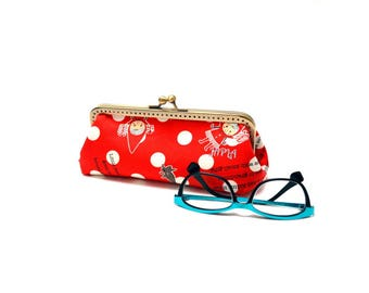 clutch bag or retro glasses case little Red Riding Hood and her Gray Wolf