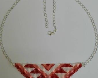 Weaving in miyuki Pearl & silver necklace