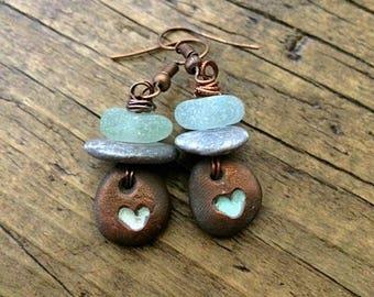 Primitive Sea Glass and Copper earrings. Rustic green copper leaf earrings.