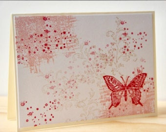 8 Pink Butterfly Cards, Handmade Blank Note Cards. Butterfly Gift. Butterfly Note Cards. Spring Cards. Pink Stationery