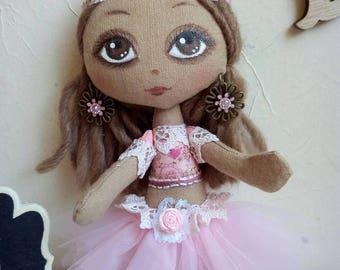 Dancing Rose fabric art doll collection mini doll poupée textile handmade Hand-painted cloth doll rag little dancer farben puppen muñeca