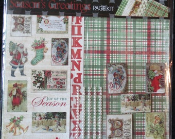 Seasons Greetings 12x12 Page Kit w/Embellishments by The Paper Studio - Christmas - Standard Shipping Included **Retired Page Kit**