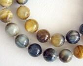 Mystique Necklace, Tigereye Necklace, Hawks Eye Necklace, Brown Blue Ombre Gemstone Silver Bead Necklace