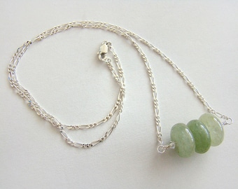 Jade Mountain Necklace, Green Jade Silver Chain Necklace, Jade Pendant Sterling Necklace, Green Jade Bead Necklace