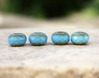 4 pumpkins 9 x 14 mm turquoise Czech glass beads