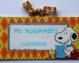 Snoopy Argyle Orange Teacher Sign