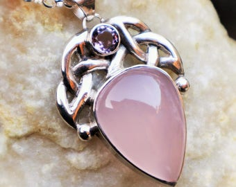 Silver (925) celtic pendant with rosequartz 'Rhosyn'