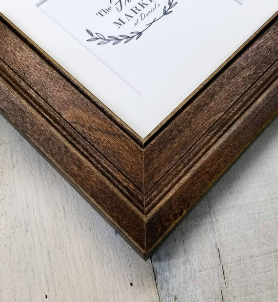 Oliver Coffee Wood Picture Frame With White Mat 8x10 9x12