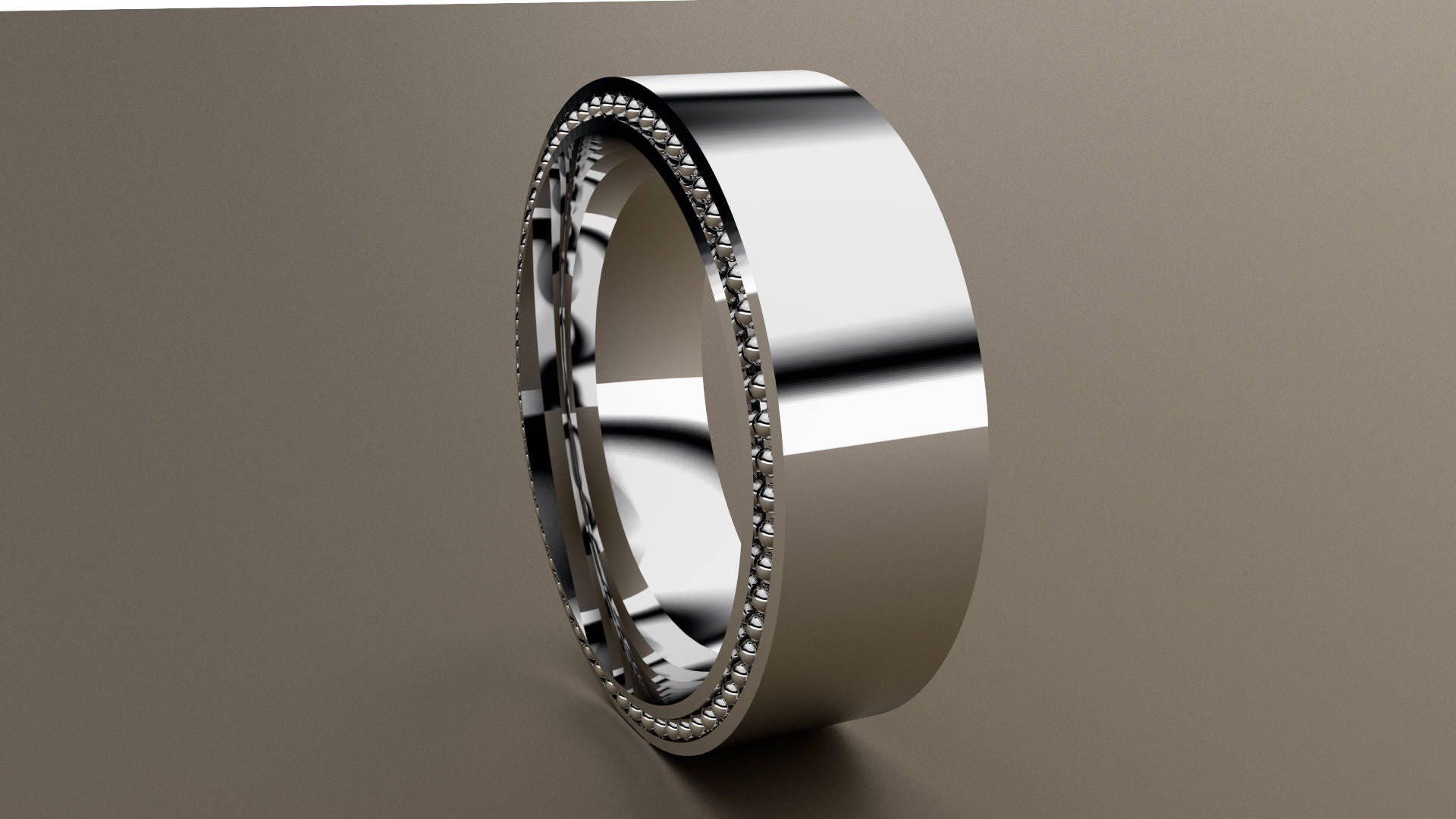 White Gold 8mm Mens Wedding Band Recessed Beading 14kt Gold