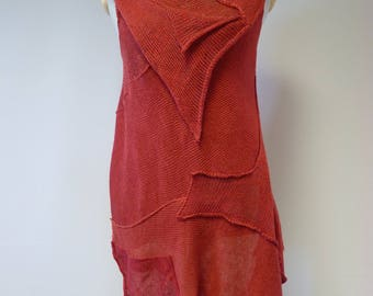 Special price. Summer knitted red linen top, L size.