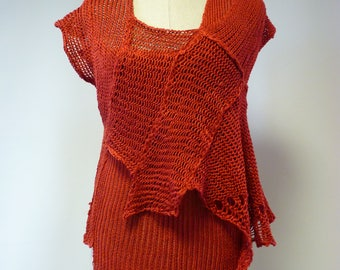 Boho foxy red linen top, M size.