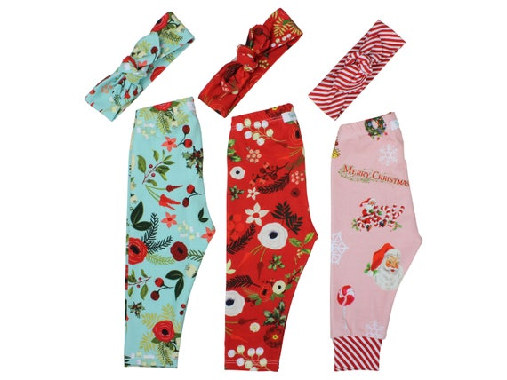 Christmas Leggings Christmas Baby Leggings Winter Leggings Girl Leggings Holiday Leggings Christmas Baby Clothes Christmas Top Knot Headband