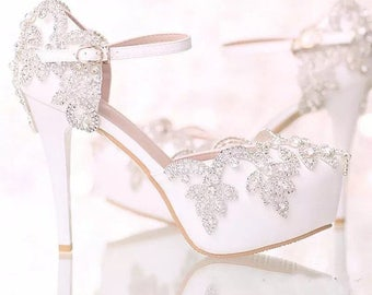 Rhinstones crystals handmade bridal shoes order are made one momth in advance please order accordingly