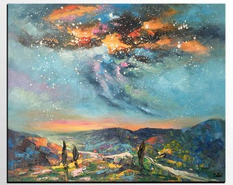 Oil Painting Landscape, Abstract Painting, Canvas Artwork, Abstract Art, Starry Night Sky Art, Custom Art Painting, Living Room Wall Art