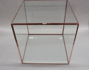 One 12 inch Glass CUBE with LID, Card Box, Terrarium, Display Case, Glass Box does not include contents