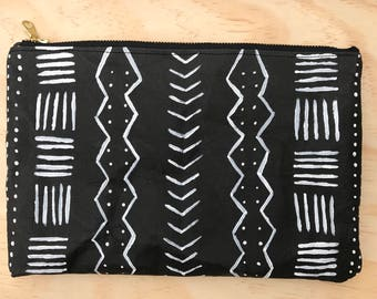 Black and white mudcloth painted clutch