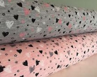 Heart print Cotton Mix Jersey Stretch Fabric **Baby Nursery Children** Pink or Grey