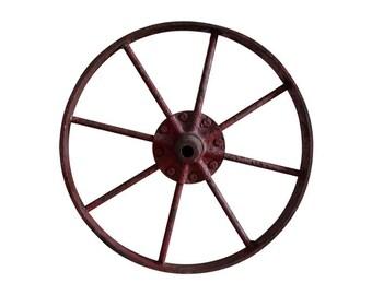 Old Salvaged Painted Iron Barn Wheel