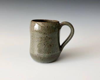 Modern handmade pottery coffee cup coffee mug wheel thrown green Haight Pottery Company