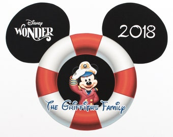Disney Cruise Magnet - Large Mickey w/ Personalization - Life Preserver