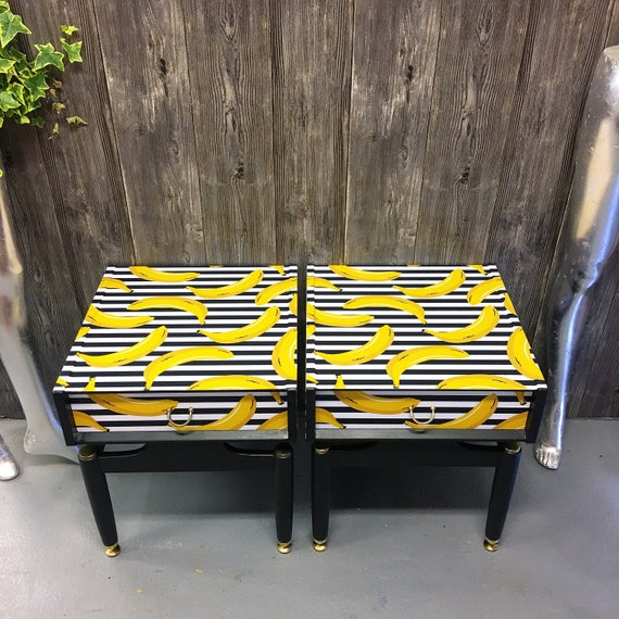 Pair of vintage Gplan bedside cabinets tables in our Gone Bananas design
