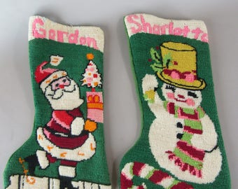 Pair of vintage needlepoint Christmas stockings with names