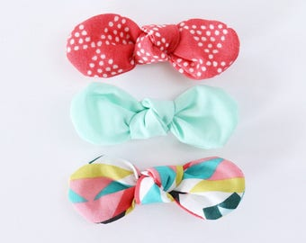 Mint Aztec Fabric Twist Knot Bow Hair Clip Set-STANDARD SIZE // Girls Hair Accessory // Coral Triangles, Solid Mint, Aztec Print