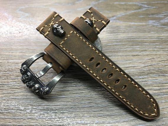 Leather Watch Band, 24mm watch band, Skull, Brown watch band, Watch band for Panerai, leather watch strap, Beige stitching, FREE SHIPPING