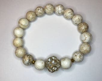 White Turquoise Beaded Stretch Bracelet Closeout Sale