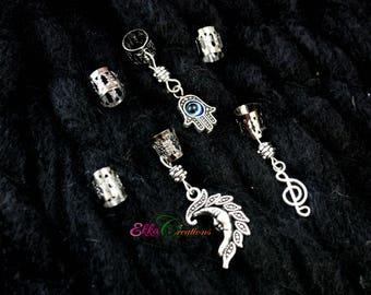 6 Dread Cuff sets/Dread bead set/Hamsa Hand Dread Bead/Sun dread bead/Music notes dread beads