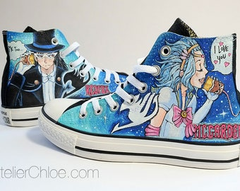 Painted converse shoes anime shoes manga sneakers anime art personalized converse womans shoes mens shoes unique gifts mens gift womans gift