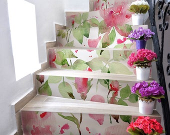 """DS00029 """"Rose watercolor stairs"""" Stickers for stairs, fabric effect - Very high print resolution - Wall stickers"""