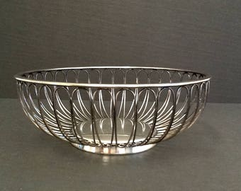 Mid Century Silver Plate Wire Bread Basket, Made in Germany, Crowned EL Silver Plate Mark