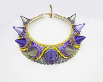 colorful statement necklace, spikes, spikes jewelry, unique gift for her, big spikes necklace, tribal necklace, yellow purple necklace