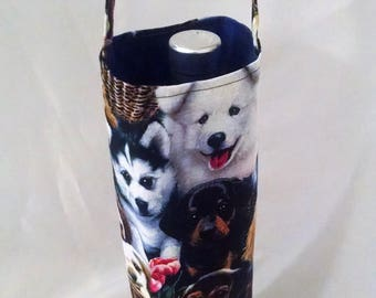 wine tote with dogs, wine bag for people who like dogs, gift for new dog owner, gift bag with puppies