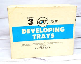 Set of 3 Film Developing Acid fixing Rising Trays 8x10 Cherryvale Vintage New In Box